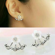 Convertible Silver Sparkling Flower Stud Ear Jacket Front to Back Earrings -NWT