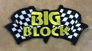 BIG BLOCK EMBROIDERED CLOTH PATCH CHEVROLET FORD CHRYSLER DODGE MOPAR HEMI V8