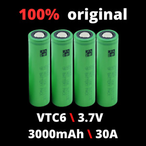 VTC6 3.7V 3000mAh 30A High Discharge Rechargeable Li-ion Battery 1-10ps