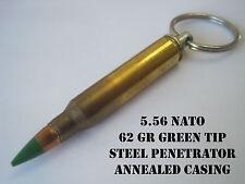 Replica 5.56mm NATO Brass Bullet Keychain w/62 gr green tipped bullet! Handmade!