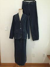 Kate Hill Casual 3-Piece Skirt Suit / Pant Suit Denim Jeans Size 6  NWT / NWOT