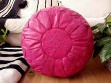 Leather Dark Pink Pouf with Pink Stitching Moroccan handmade Unstuffed footstool