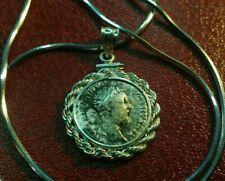 "Authentic Marcus Aurelius Roman Silver Denari on a 18"" Italian 925 Silver Chain."
