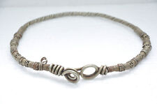Old White Metal Engraved Handcrafted Tribal Necklace, Rich Patina