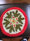 Vintage Small Round Hooked Rug Christmas