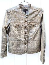 Dana Buchman Women Jacket Sz 6 Metallic Gold Snakeskin Print Stretch Denim NWOT