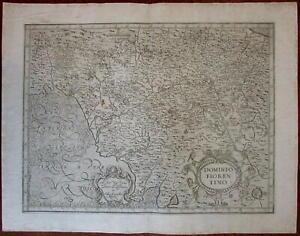 Florence Italy Dominio Fiorentino Italia Lucca c.1590 rare large Magini map