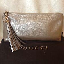 NWT GUCCI Sienna Champagne Leather Metallic Tassel Evening Clutch Bag Purse $895