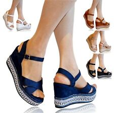 WOMENS LADIES FAUX SUEDE WEDGE MID HIGH HEELS PARTY  PLATFORM SANDALS SHOES-2892