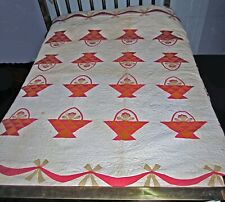 antique old vintage applique quilt baskets w/ rosebuds swags and bows