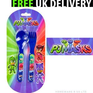 BOYS CHILDRENS PJ MASKS CUTLERY SET PLASTIC DINNER PLATES (13.5 CM) FORKS SPOONS