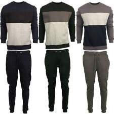 Mens Full Tracksuit Fleece Crew Neck Top Sweatshirt Bottom Joggers Size S M L XL