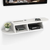 2 Tier White Wall Mount Floating Shelf TV Console for Cable Boxes/ Game Consoles