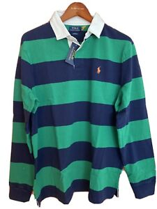 NWT Polo Ralph Lauren Navy Green Striped Iconic Rugby Color Block Shirt L