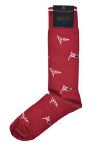 Brooks Brothers Mens Red 1818 Pennants Cotton Blend Dress Socks Sz 7-12 8374-7