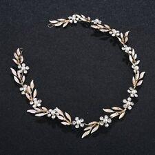 Gold Leaf Flower Crystal Rhinestone Wedding Bridal Headband Clip Hair Band Tiara