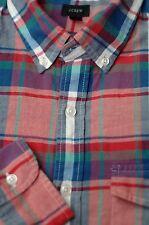 J. Crew Men's Pink Blue Purple Tartan Cotton Casual Shirt M Medium
