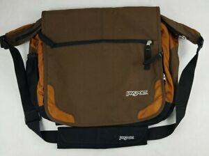 Jansport Shoulder Laptop Messenger Bag Crossbody Bag Brown Logo School 16x14