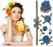 Waterproof Colorful Removable Temporary Tattoo DIY 3D Noble Blue Rose Sticker
