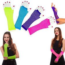 Fishnet Gloves 6 Pieces Assorted Colored Fingerless Fishnet Long Length Gloves