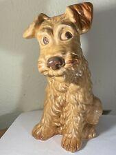 Sylvac Pottery #1380 England Large Wheaten Terrier Whimsical Sitting Dog  EUC