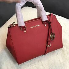 Genuine MICHAEL KORS Sutton Satchel Saffiano Leather handbag red sales