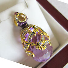 SALE !  BEAUTIFUL MADE OF STERLING SILVER 925 AMETHYST 24K  RUSSIAN EGG PENDANT