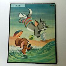 Whitman Tom & Jerry Tray Puzzle Vintage 1959 Beach Cartoon 4428 Loews Cat 1950's