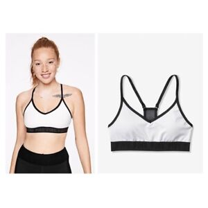 Victorias Secret PINK Ultimate Lined Removable Padding Sports Bra white / black