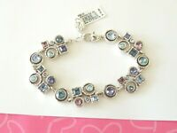Brighton Halo Aurora Pink Purple Crystal Bracelet Round Links New tags $78