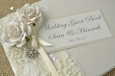 Luxury Personalised Wedding Guest Book - Vintage Style Rose, Lace & Jewel Design