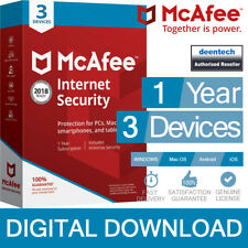 McAfee Internet Security 2018 (3 Devices/1Year) Antivirus PC/Mac Genuine License