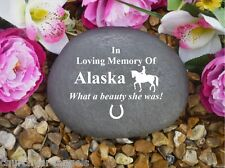 Pet Memorial Personalised Large Pebble (Stone Effect) - Horse Dressage Design