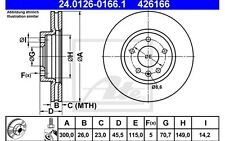 ATE Juego de 2 discos freno 300mm ventilado SEAT LEON RENAULT 24.0126-0166.1