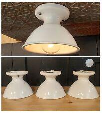 Vintage Alabax All Porcelain Flush Ceiling Light Fixture  Kitchen Closet Ceramic