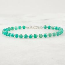 Amazonite Bracelet Sterling Silver Smooth Round Beads Women 7 inches