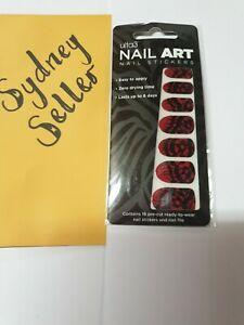 Ulta 3 Nail Art Stickers - Red with Black Patterns - Brand New In Packet