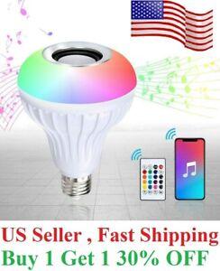 Wireless App Bluetooth LED Light Speaker Bulb RGB E27 12W Music Playing  Remote