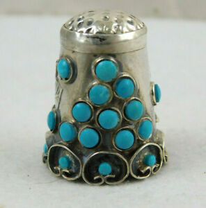 Vintage Signed Iguala Mexico Sterling Silver Turquoise Thimble