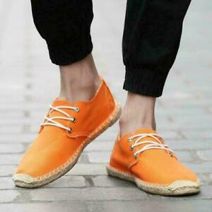 Mens Linen Lace-up Canvas Soft Breathable Loafers Driving Casual comfy Shoes New