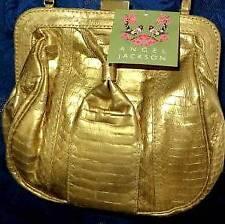 HANDBAG - Angel Jackson Genuine Snakeskin Bag Gold Colour RRP £145.00 BNWT