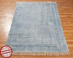 10x14 ft Block Printeted Decorative Dhurrie Indian Handmade Dining Room Rug