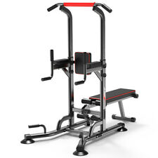 Home GYM Power Tower Dip Station With Bench Bar Adjustable Pull Up Bar Station A
