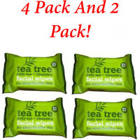 4 x 25 And 2 x 25 Pack Tea Tree Daily Use Cleansing Facial Face MakeUp 25 Wipes