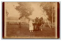 Viola, OR Oregon Farm Barnyard Horses Woman Man Outhouse RPPC  Photo Postcard