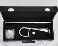 ☆ ☆☆☆☆Silver Nickel Slide Trumpet Bb Key Soprano Trombone Horn with MPC Case