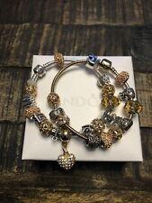 Original Pandora Armband 20 cm viele Beads/Anhänger Bicolor Gold Silber +Box