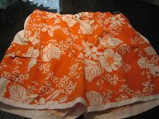 NWT - Mens Orange/White HAWAIIAN PRINT Lined CARGO Swimsuit (3XB)