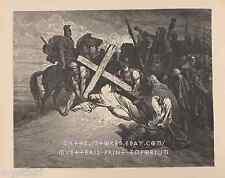 Christ's Arrival At Mount Calvary-Cross-1889 ANTIQUE VINTAGE ART PRINT-Picture