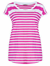 Ex-M & S Hot Pink/White Striped 100% Cotton Short Sleeved Top/T-Shirt- BNWOT